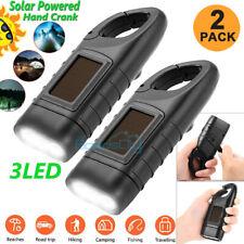 2x Powerful Emergency Light Hand Crank Dynamo Solar Rechargeable 3LED Flashlight
