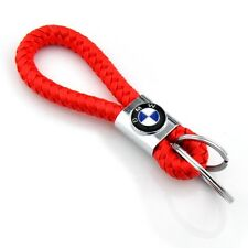 Braided Leather Red Cord Key Chains Car Logo Holder Silver Key Ring for BMW