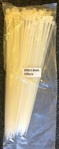 WHITE Tie Wraps/Cable Tidies Strong Plastic 300 x 4.8mm - 1x Pack of 100 NEW