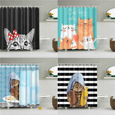 Animal Funny Cat Bathing Decor Bathroom Shower Curtain Stripe Background 3 Sizes