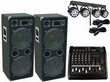 Das PA Komplett Set8 Powermixer Anlage LED Licht DJ 3Wege USB Musikanlage 3000W