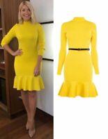 New Karen Millen Celeb Yellow Ribbed Knitted Peplum Bodycon Jumper Dress Size M