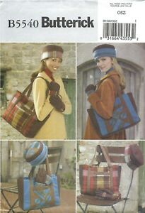 Butterick B5540 Tote Bags, Hats & Gloves Fall & Winter ONE SIZE UNCUT Pattern