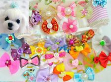 Wholesale 100pcs Multicolor Mix Pet Dog Hair Bow Pearl Flowers Rubber Bands