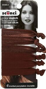 Scunci Hair Elastics 6 Knotted Ponytailers Brunette Ribbon Type Holder
