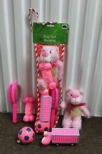 PINK DOG TOYS STOCKING Christmas Holidays Brush Ball Pet Gift Set Play Fun NEW