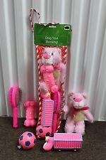 PINK DOG TOYS STOCKING Christmas Holidays Brush Ball Pet Gift Set Play Fun NEW