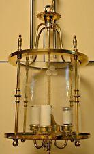 Antique BRASS Hanging Ceiling 3 Lights Hall Foyer Entrance Way Vintage Lamp