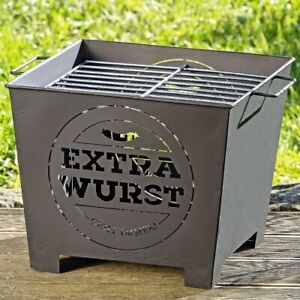 "Grilleimer ""EXTRA WURST"" - 36x36x30cm schwarz Partygrill Eimergrill Strandgrill"