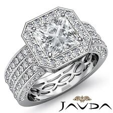 Princess 3 Row Diamond Engagement Halo Pave Ring GIA I VS2 18k White Gold 2.95ct