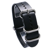 18 20 22mm Watch Band Brown/Black Leather Watch Strap Replacement Wrist Bracelet