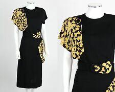 VTG 1930s 1940s BLACK RAYON CREPE YELLOW PRINT DRAPED DETAIL DRESS BELT SMALL