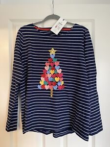 Joules Navy Christmas Tree Harbour Luxe Top Size 18 BNWT