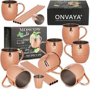 ONVAYA® Moscow Mule Becher 8er Set   Kupferbecher für Cocktails   480 ml Inhalt