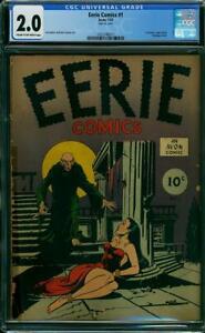 Eerie Comics #1 CGC 2.0 Avon 1947 1st Horror Comic! Key Golden! K10 cm clean
