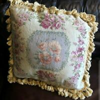"Gorgeous 19"" Floral NeedlePoint Pillow Cushion Sham"