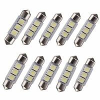 10X Festoon 36mm 3 LED Car Interior Dome 5050 SMD Light Bulb Lamp Pure White 12V