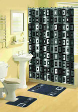 Black Blocks Shower Curtain, 2 Piece Rug Set,12 Fabric Covered Shower Rings
