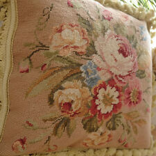 """16"""" European Country Style Wool Hand Stitched Floral Needlepoint Pillow Cushion"""