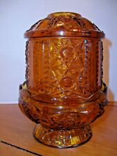 "Vintage Amber Glass Votive Candle Holder ~ Base & Shade ~ 6 1/2"" Tall ~ Homco"