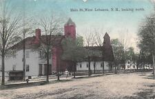 West Lebanon NH~Main Street~Dirt Road~Horse Trough~Churches~1910 Handcolored PC
