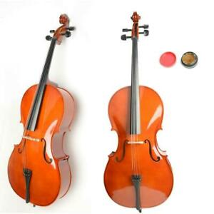 New 4/4 Full Size Student Wood Cello + Bag + Bow + Rosin + Bridge Retro UK