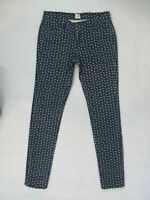 Lands End Canvas Womens Tan Polka Dot SUPER SKINNY Stretch Blue Jeans Size 2 EUC
