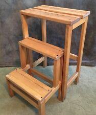 Vintage VALSECCHI Wood Library 3 Step Stool Ladder Foldaway High End Space Saver