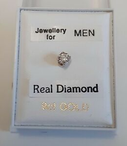 Brand New Mens SINGLE 9ct Gold & 3.5mm 0.075ct diamond round stud earring