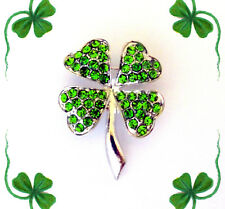 GREEN CRYSTAL SHAMROCK 4 LEAF CLOVER LUCKY IRISH BROOCH PIN~ST PATRICKS DAY GIFT