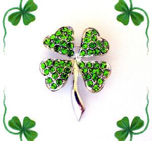 GREEN CRYSTAL SHAMROCK 4 LEAF CLOVER LUCKY IRISH BROOCH PIN~ST PATRICKS DAY GIFT