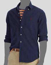 Polo Ralph Lauren Mens Blue Long Sleeve Pony Logo Oxford Cotton Top Shirt L