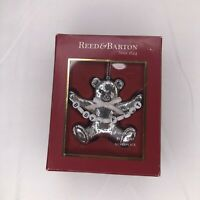 Reed & Barton Babys First Christmas Bear Beads Ornament Silverplate w/ Box #1