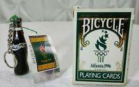 1996 Atlanta Okympics  Coca-Cola Mini Coke Bottle Keychain + Playing Cards Deck