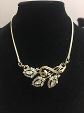 "Signed CROWN TRIFARI PAT PEND Vintage 16"" Necklace Gold Tone Crystal Flower"