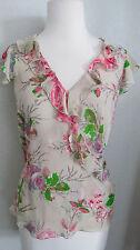 INC International Concepts Top 8 Beige Pink Roses Silk Surplice Short Sleeve