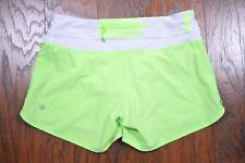 Lululemon Groovy Run Shorts Zippy Green White Bold Stripe Women's 6