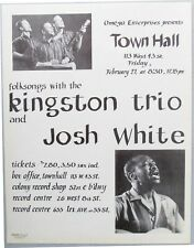 Original Concert Handbill:  Kingston Trio, Josh White, Town Hall, New York, 1959