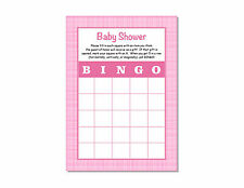 24 Baby Shower Girl Pink Plaid Bingo Game Cards 5x7