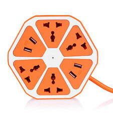 Universal 4 USB Hexagon Power Socket Extension Mobile Charger Surge Spike Guard