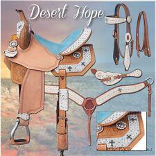15 Inch Western Barrel Saddle Pkg - Desert Hope Motiff - White Hair - Blue Suede