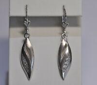 Echt 925 Sterling Silber Ohrringe Ohrhänger Zirkonia crystal mattiert Nr 431B