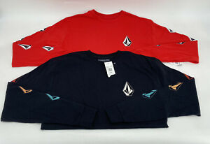 Lot 2 Volcom Deadly Stones Long Sleeve T-Shirt, Big Boy's Youth Sz XL Black, Red