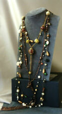 Vintage style Necklace Bundle (4) Pearl Seed Beaded Rhinestone Chain Long
