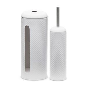salt&pepper Spot Toilet Brush & Roll Holder - Set of 2