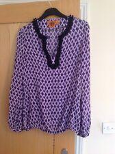Tory Burch purple navy & cream 100% silk floral pattern blouse