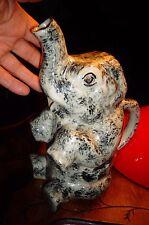 Ancien Gros Pichet Barbotine au Gros Elephant marbré Broc à Eau
