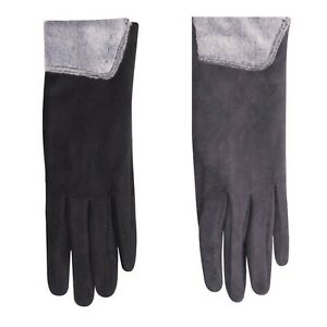 Woman Ladies Winter Autumn SUEDE with Fur Gloves