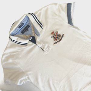 Vintage Tommy Hilfiger Rugby Short Sleeve Polo Shirt L Large White Embroidered