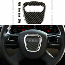 5x 100% Carbon Fiber Steering Wheel Center Cover trim For Audi A4 B7 B8 06-2012